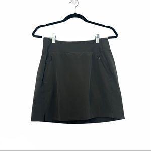 Athleta Athletic Skirt Zipper Pockets Gray Black 2